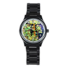 Abstract Trees Flowers Landscape Stainless Steel Round Watch by Nexatart