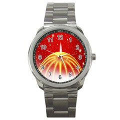 Advent Candle Star Christmas Sport Metal Watch by Nexatart