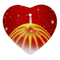 Advent Candle Star Christmas Heart Ornament (Two Sides)