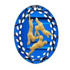 Animal Hare Window Gold Ornament (oval Filigree) by Nexatart