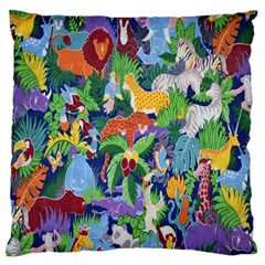 Animated Safari Animals Background Large Flano Cushion Case (two Sides) by Nexatart