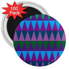 Blue Greens Aqua Purple Green Blue Plums Long Triangle Geometric Tribal 3  Magnets (100 Pack) by Alisyart