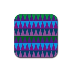 Blue Greens Aqua Purple Green Blue Plums Long Triangle Geometric Tribal Rubber Square Coaster (4 Pack)  by Alisyart