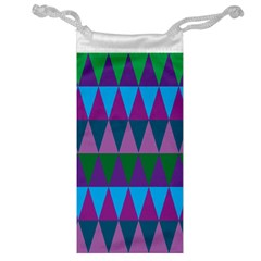 Blue Greens Aqua Purple Green Blue Plums Long Triangle Geometric Tribal Jewelry Bag by Alisyart
