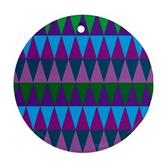 Blue Greens Aqua Purple Green Blue Plums Long Triangle Geometric Tribal Round Ornament (two Sides) by Alisyart