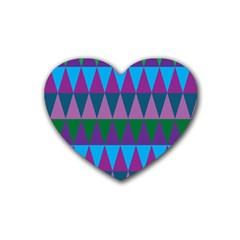 Blue Greens Aqua Purple Green Blue Plums Long Triangle Geometric Tribal Rubber Coaster (heart)  by Alisyart