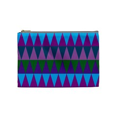 Blue Greens Aqua Purple Green Blue Plums Long Triangle Geometric Tribal Cosmetic Bag (medium)  by Alisyart