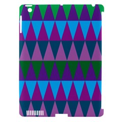 Blue Greens Aqua Purple Green Blue Plums Long Triangle Geometric Tribal Apple Ipad 3/4 Hardshell Case (compatible With Smart Cover) by Alisyart