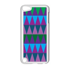 Blue Greens Aqua Purple Green Blue Plums Long Triangle Geometric Tribal Apple Ipod Touch 5 Case (white) by Alisyart