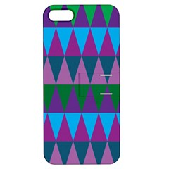 Blue Greens Aqua Purple Green Blue Plums Long Triangle Geometric Tribal Apple Iphone 5 Hardshell Case With Stand by Alisyart