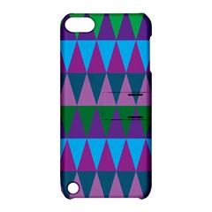 Blue Greens Aqua Purple Green Blue Plums Long Triangle Geometric Tribal Apple Ipod Touch 5 Hardshell Case With Stand by Alisyart