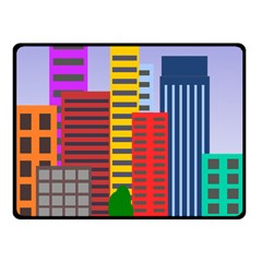 City Skyscraper Buildings Color Car Orange Yellow Blue Green Brown Fleece Blanket (small) by Alisyart