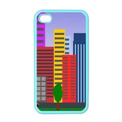 City Skyscraper Buildings Color Car Orange Yellow Blue Green Brown Apple Iphone 4 Case (color) by Alisyart