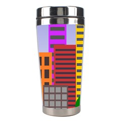 City Skyscraper Buildings Color Car Orange Yellow Blue Green Brown Stainless Steel Travel Tumblers by Alisyart