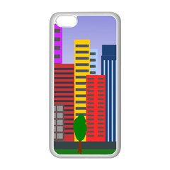 City Skyscraper Buildings Color Car Orange Yellow Blue Green Brown Apple Iphone 5c Seamless Case (white) by Alisyart