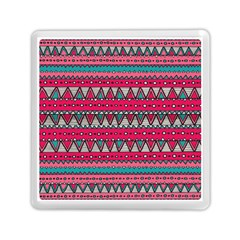 Aztec Geometric Red Chevron Wove Fabric Memory Card Reader (square)  by Alisyart