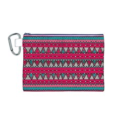 Aztec Geometric Red Chevron Wove Fabric Canvas Cosmetic Bag (m) by Alisyart