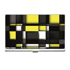 Color Geometry Shapes Plaid Yellow Black Business Card Holders by Alisyart