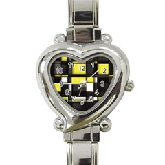 Color Geometry Shapes Plaid Yellow Black Heart Italian Charm Watch by Alisyart