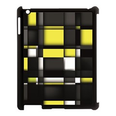 Color Geometry Shapes Plaid Yellow Black Apple Ipad 3/4 Case (black) by Alisyart