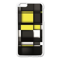 Color Geometry Shapes Plaid Yellow Black Apple Iphone 6 Plus/6s Plus Enamel White Case by Alisyart