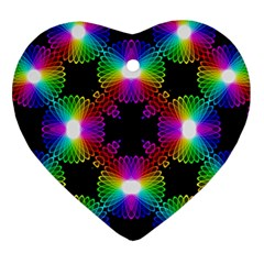 Circle Color Flower Heart Ornament (two Sides) by Alisyart