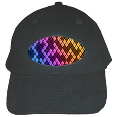 Colorful Abstract Plaid Rainbow Gold Purple Blue Black Cap by Alisyart