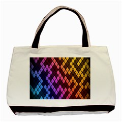 Colorful Abstract Plaid Rainbow Gold Purple Blue Basic Tote Bag (two Sides) by Alisyart
