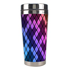 Colorful Abstract Plaid Rainbow Gold Purple Blue Stainless Steel Travel Tumblers by Alisyart