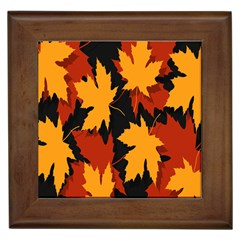 Dried Leaves Yellow Orange Piss Framed Tiles by Alisyart
