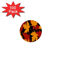 Dried Leaves Yellow Orange Piss 1  Mini Buttons (100 Pack)  by Alisyart