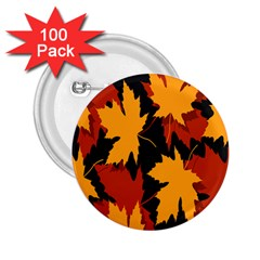 Dried Leaves Yellow Orange Piss 2 25  Buttons (100 Pack)  by Alisyart