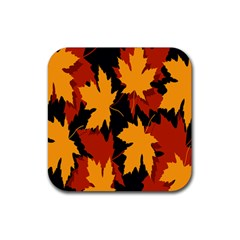 Dried Leaves Yellow Orange Piss Rubber Coaster (square)  by Alisyart