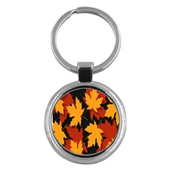 Dried Leaves Yellow Orange Piss Key Chains (round)  by Alisyart