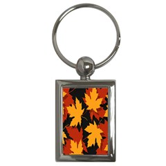 Dried Leaves Yellow Orange Piss Key Chains (rectangle)  by Alisyart