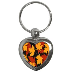 Dried Leaves Yellow Orange Piss Key Chains (heart)  by Alisyart