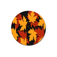 Dried Leaves Yellow Orange Piss Magnet 3  (round) by Alisyart