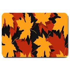 Dried Leaves Yellow Orange Piss Large Doormat  by Alisyart