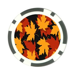 Dried Leaves Yellow Orange Piss Poker Chip Card Guard by Alisyart