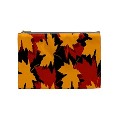 Dried Leaves Yellow Orange Piss Cosmetic Bag (medium)  by Alisyart