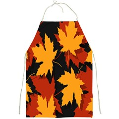 Dried Leaves Yellow Orange Piss Full Print Aprons by Alisyart