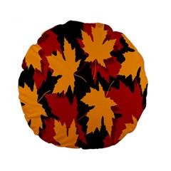 Dried Leaves Yellow Orange Piss Standard 15  Premium Flano Round Cushions by Alisyart