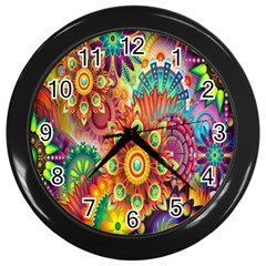 Colorful Abstract Flower Floral Sunflower Rose Star Rainbow Wall Clocks (black) by Alisyart
