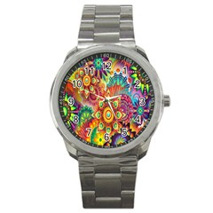 Colorful Abstract Flower Floral Sunflower Rose Star Rainbow Sport Metal Watch by Alisyart