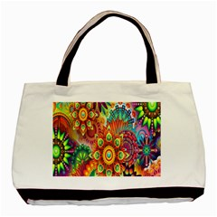 Colorful Abstract Flower Floral Sunflower Rose Star Rainbow Basic Tote Bag by Alisyart