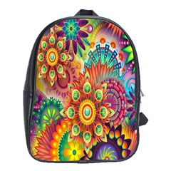 Colorful Abstract Flower Floral Sunflower Rose Star Rainbow School Bags (xl)  by Alisyart
