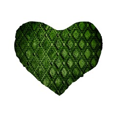 Circle Square Green Stone Standard 16  Premium Heart Shape Cushions by Alisyart