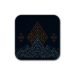 Geometric Triangle Grey Gold Rubber Coaster (square)  by Alisyart