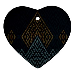 Geometric Triangle Grey Gold Heart Ornament (two Sides) by Alisyart