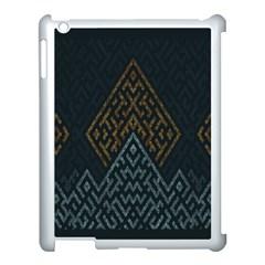 Geometric Triangle Grey Gold Apple Ipad 3/4 Case (white) by Alisyart